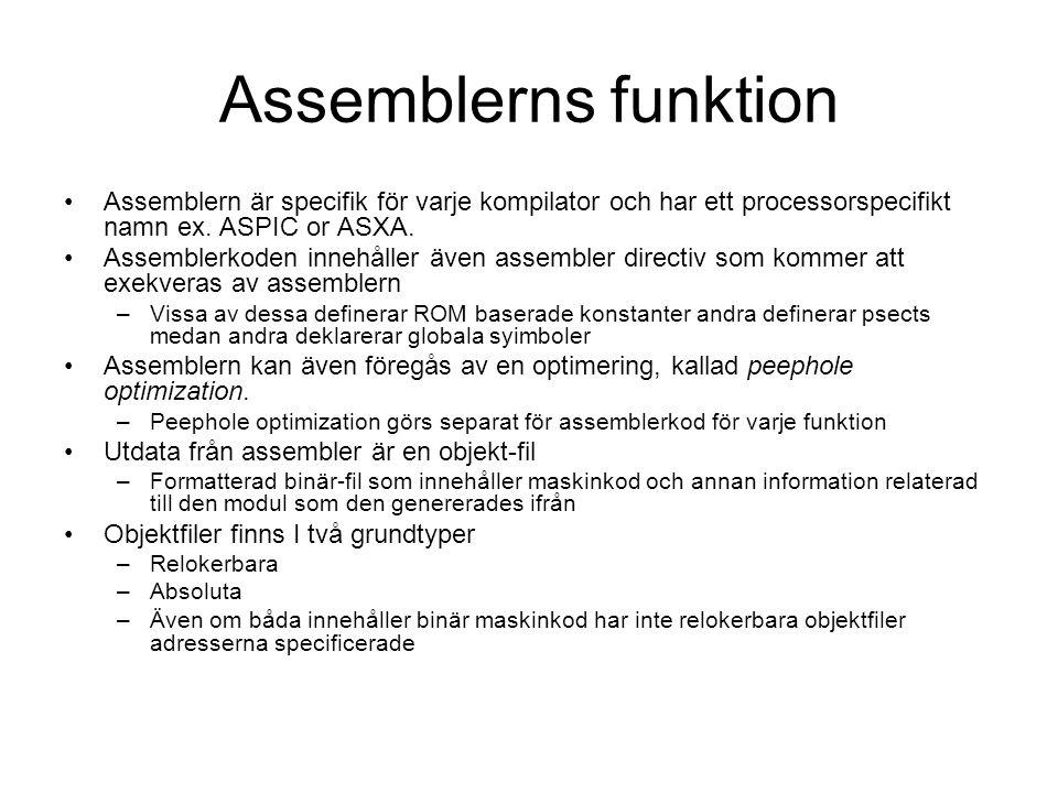 Assemblerns funktion Assemblern är specifik för varje kompilator och har ett processorspecifikt namn ex. ASPIC or ASXA.