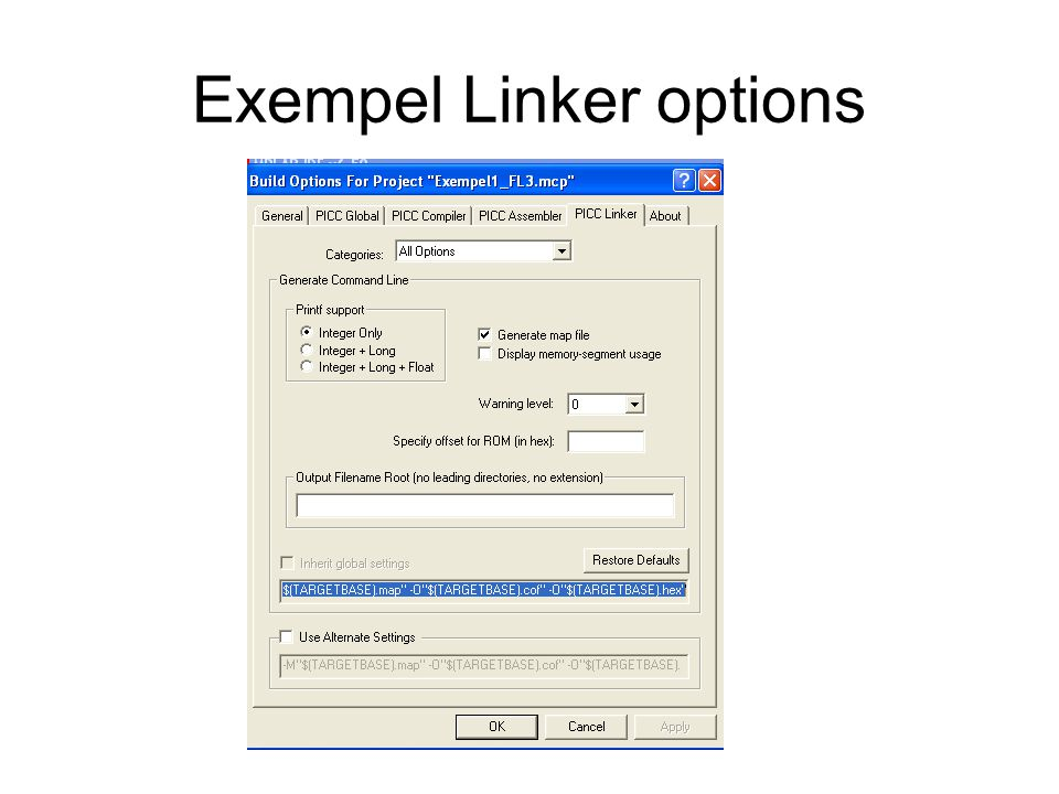 Exempel Linker options