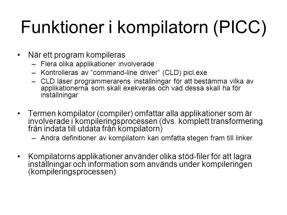 Funktioner i kompilatorn (PICC)