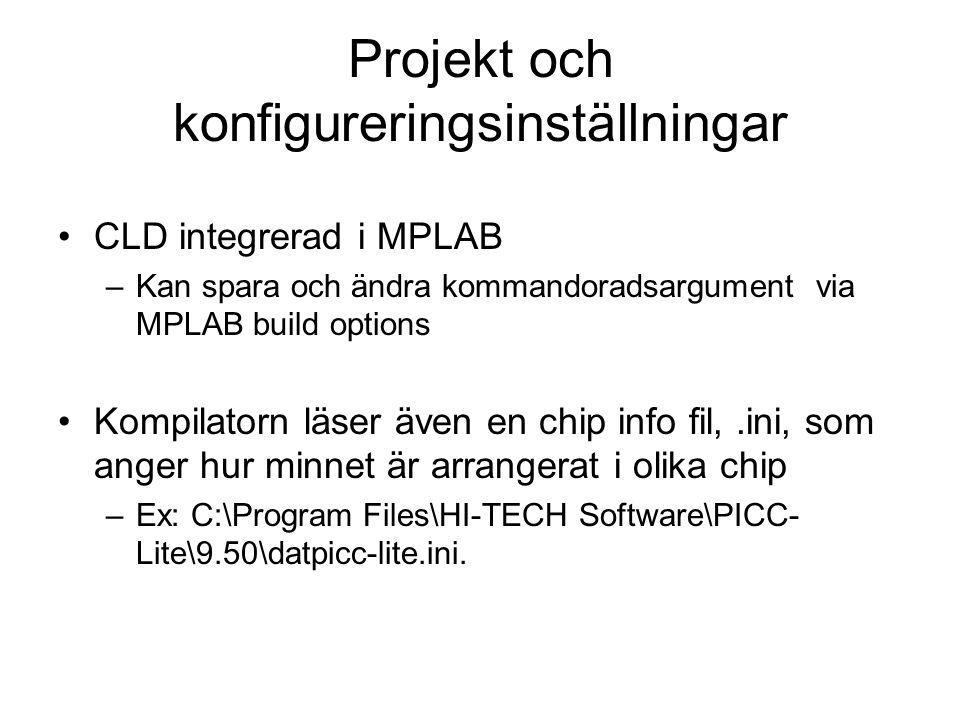 Projekt och konfigureringsinställningar