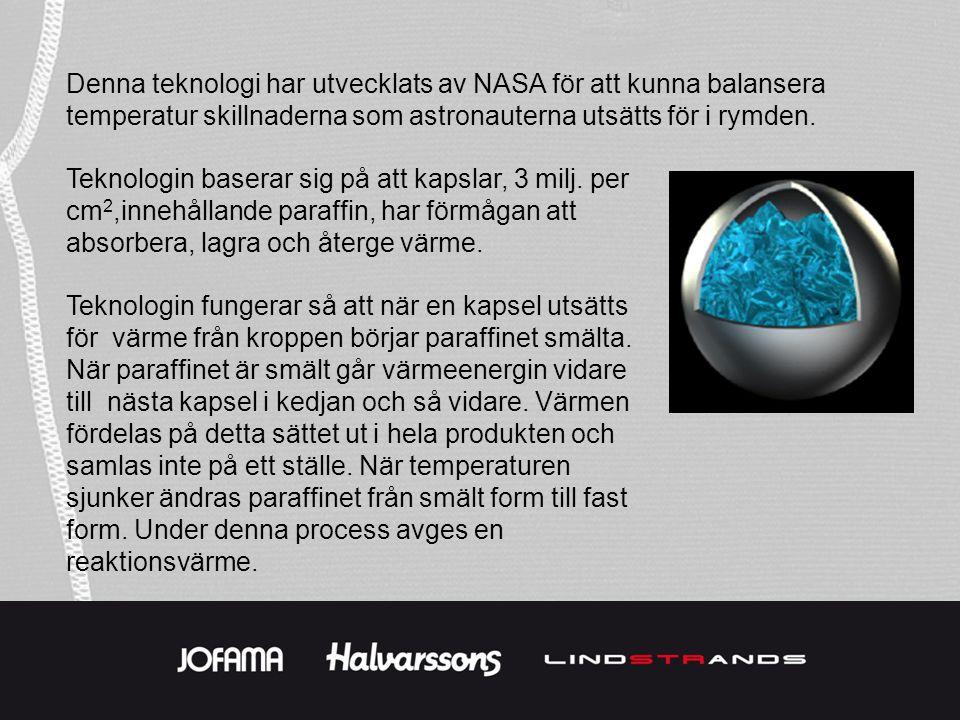 Denna teknologi har utvecklats av NASA för att kunna balansera temperatur skillnaderna som astronauterna utsätts för i rymden.