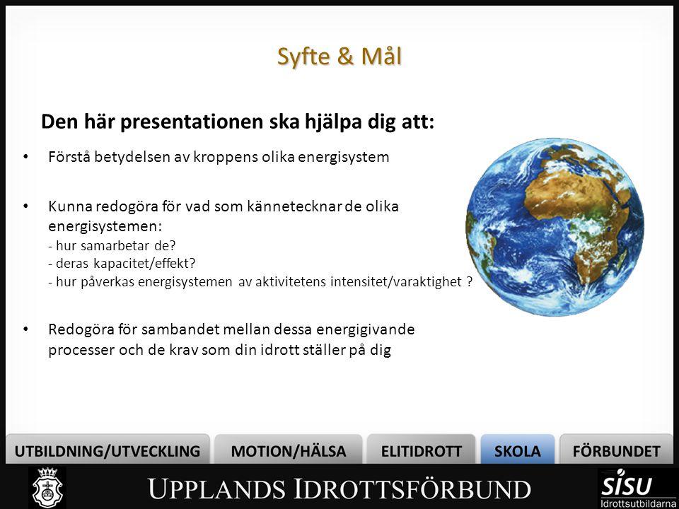 Syfte & Mål Den här presentationen ska hjälpa dig att: