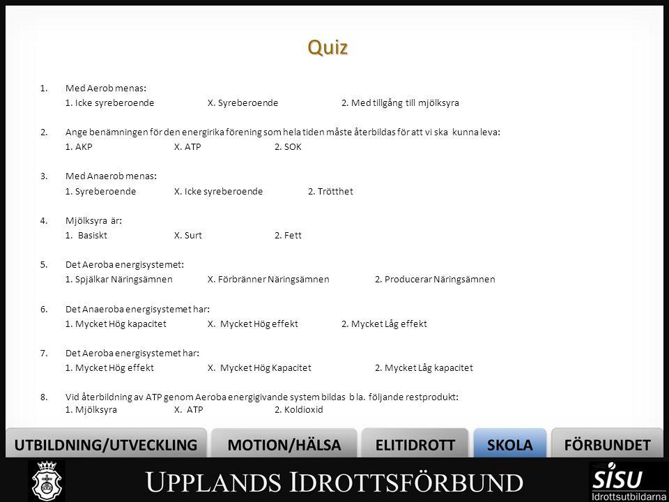 Quiz Med Aerob menas: 1. Icke syreberoende X. Syreberoende 2. Med tillgång till mjölksyra.