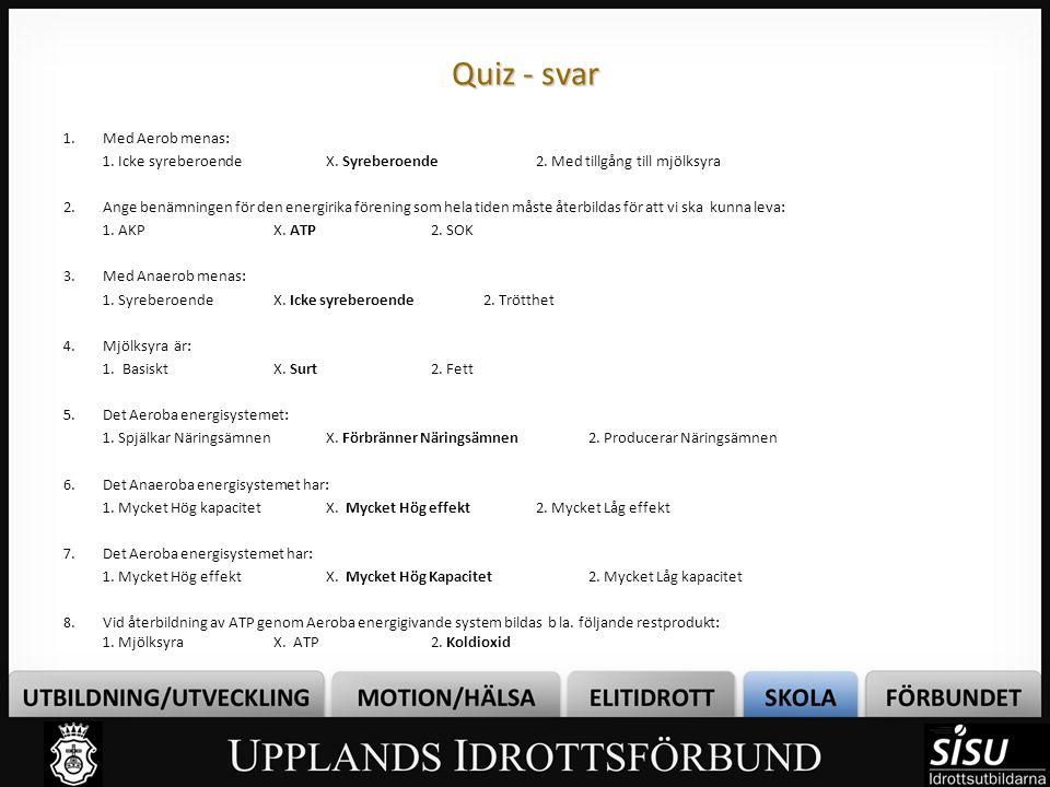 Quiz - svar Med Aerob menas: