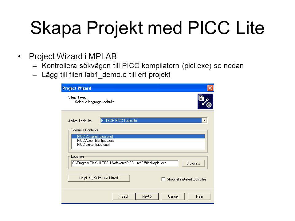 Skapa Projekt med PICC Lite