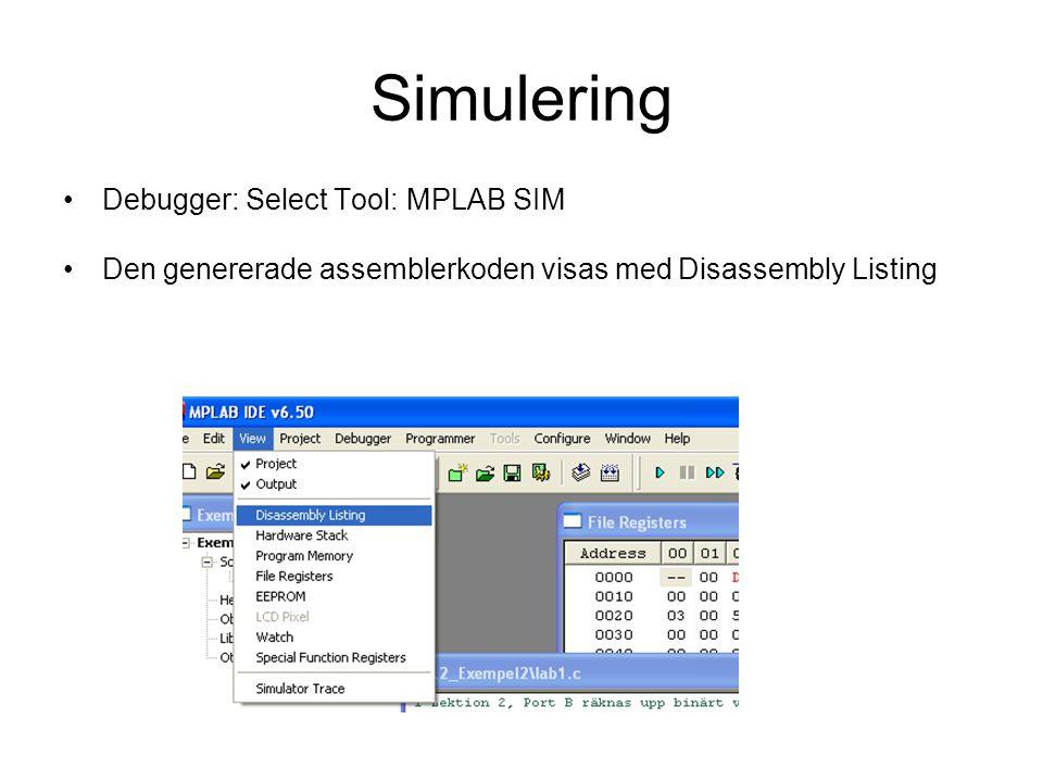 Simulering Debugger: Select Tool: MPLAB SIM