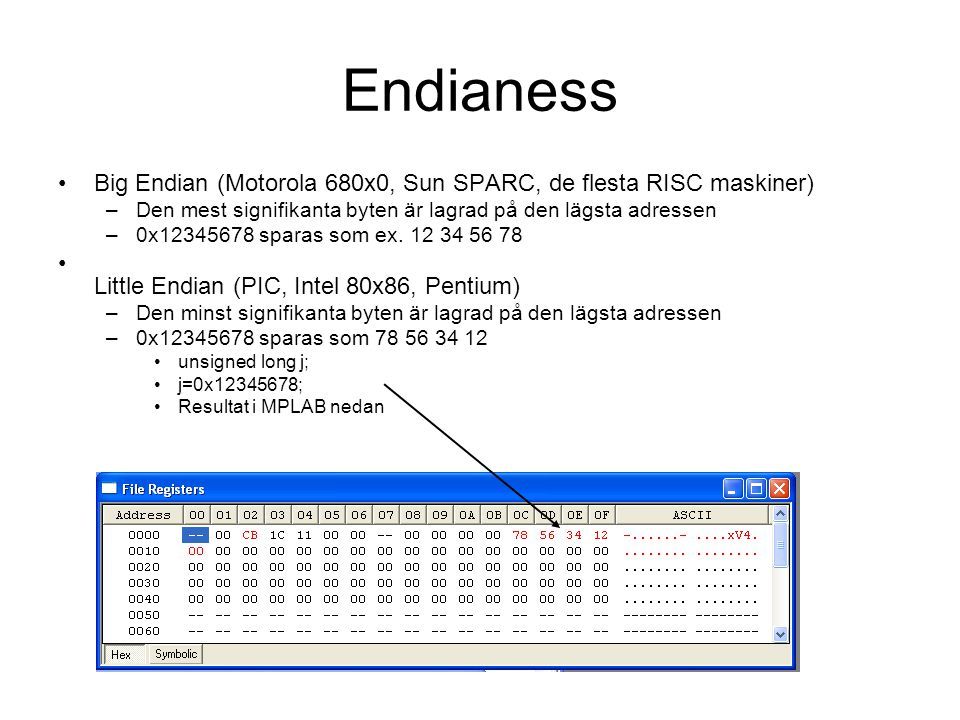 Endianess Big Endian (Motorola 680x0, Sun SPARC, de flesta RISC maskiner) Den mest signifikanta byten är lagrad på den lägsta adressen.
