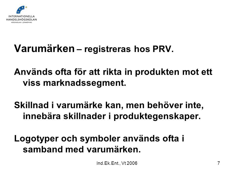 Varumärken – registreras hos PRV.