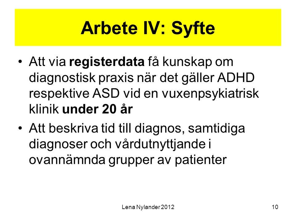 Arbete IV: Syfte Att via registerdata få kunskap om diagnostisk praxis när det gäller ADHD respektive ASD vid en vuxenpsykiatrisk klinik under 20 år.