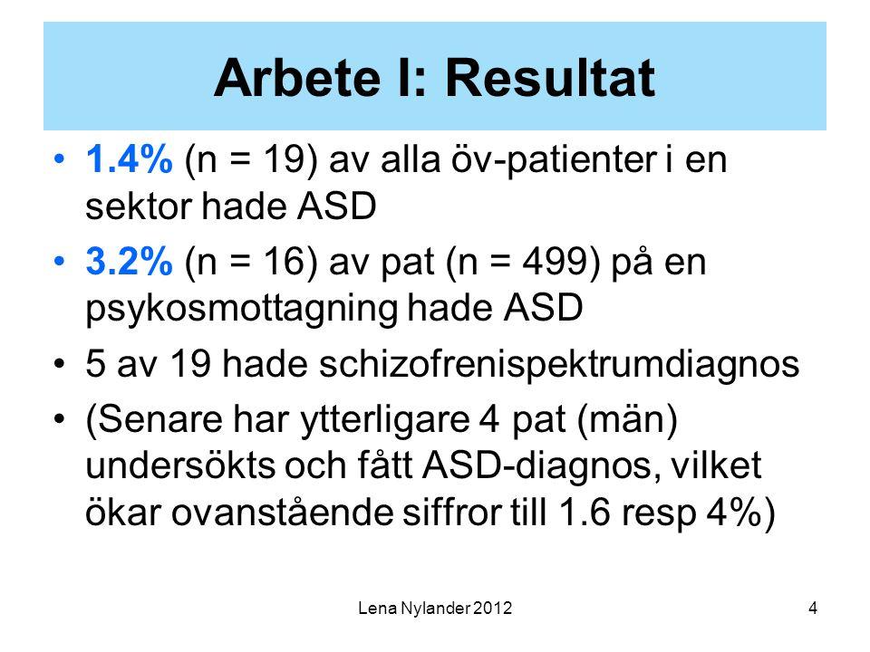 Arbete I: Resultat 1.4% (n = 19) av alla öv-patienter i en sektor hade ASD. 3.2% (n = 16) av pat (n = 499) på en psykosmottagning hade ASD.