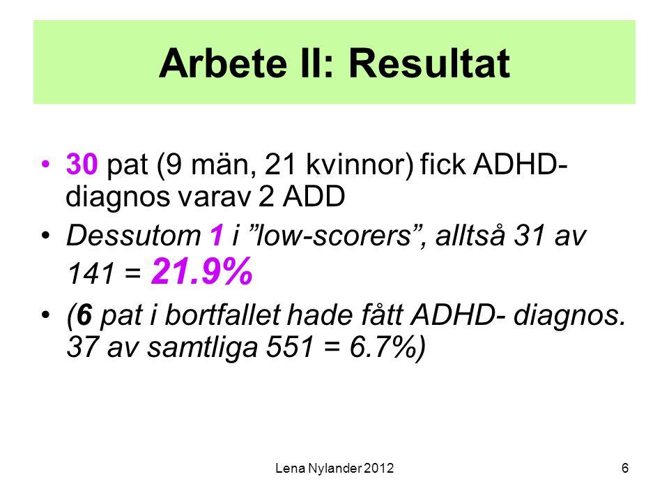 Arbete II: Resultat 30 pat (9 män, 21 kvinnor) fick ADHD-diagnos varav 2 ADD. Dessutom 1 i low-scorers , alltså 31 av 141 = 21.9%