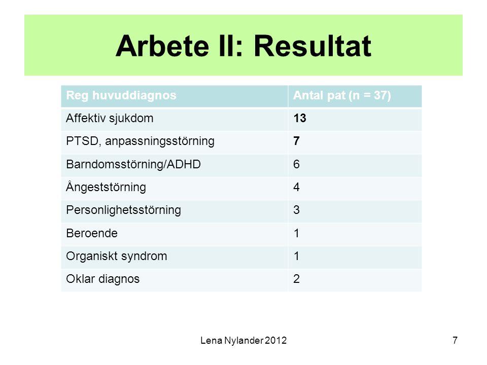 Arbete II: Resultat Reg huvuddiagnos Antal pat (n = 37)