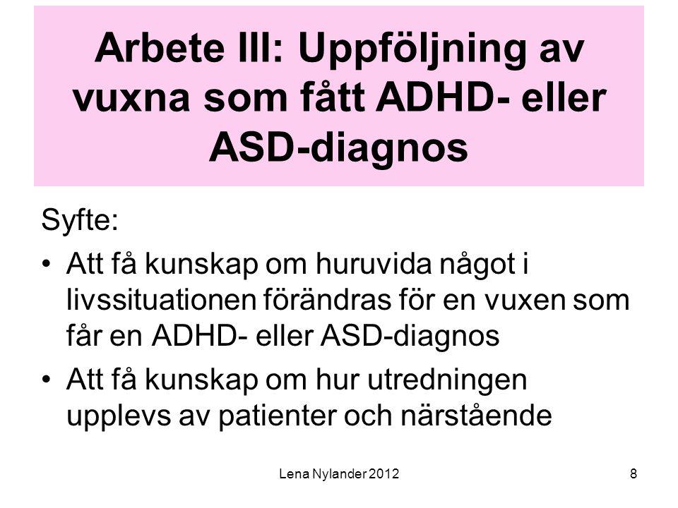 Arbete III: Uppföljning av vuxna som fått ADHD- eller ASD-diagnos