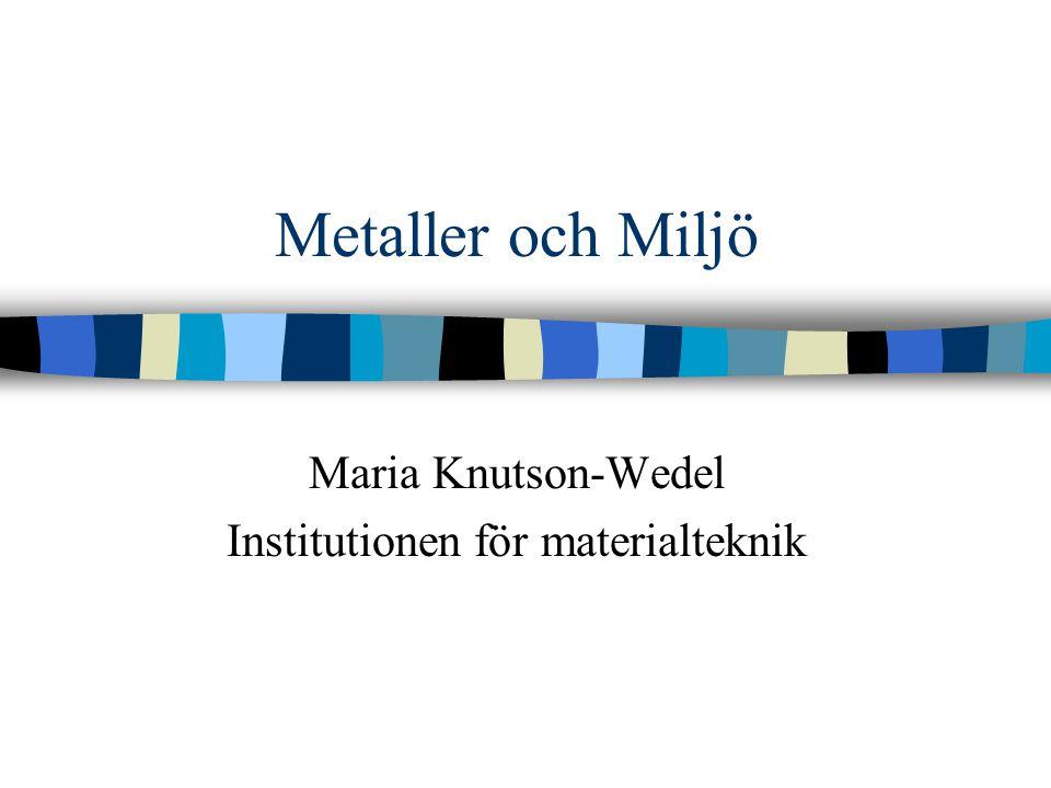 Maria Knutson-Wedel Institutionen för materialteknik