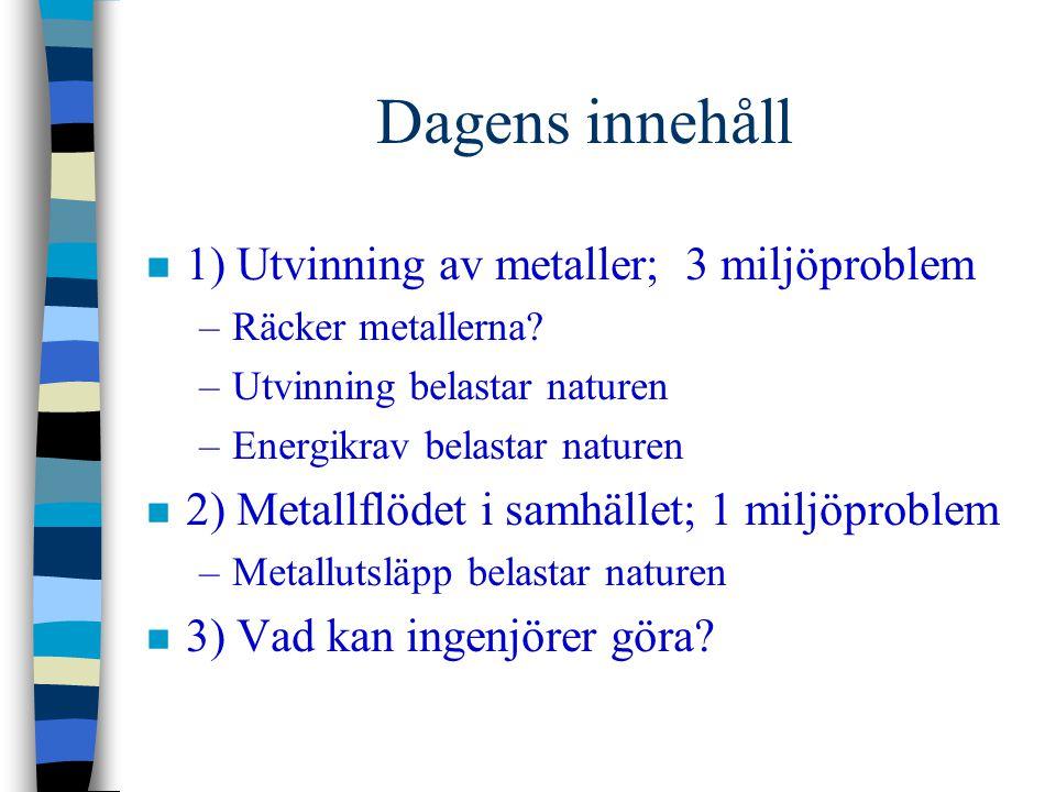Dagens innehåll 1) Utvinning av metaller; 3 miljöproblem