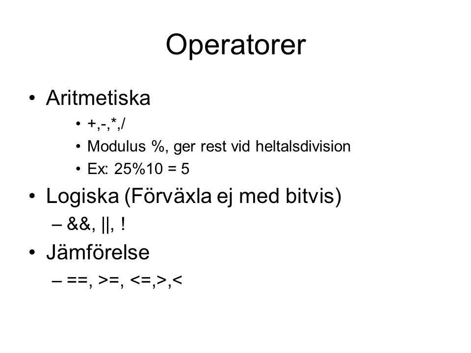 Operatorer Aritmetiska Logiska (Förväxla ej med bitvis) Jämförelse