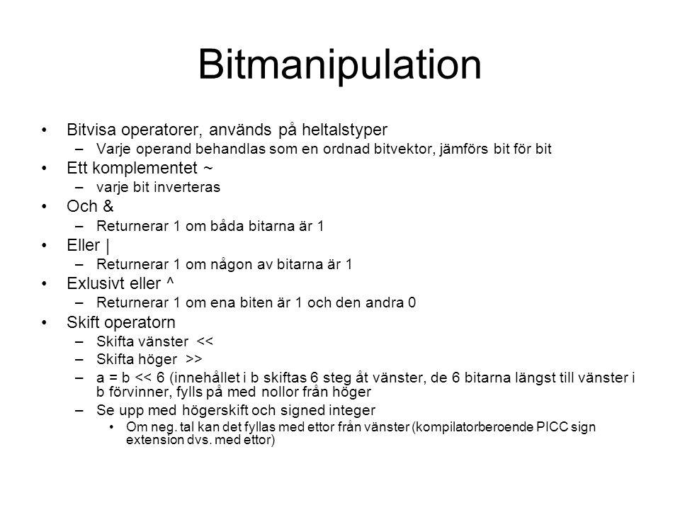 Bitmanipulation Bitvisa operatorer, används på heltalstyper