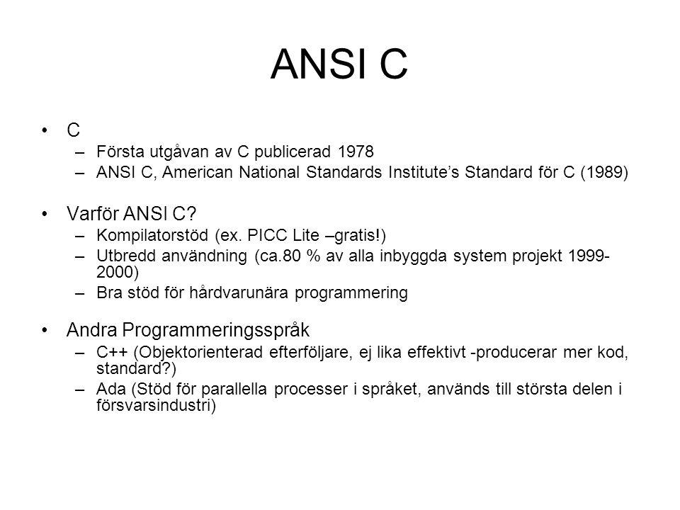 ANSI C C Varför ANSI C Andra Programmeringsspråk