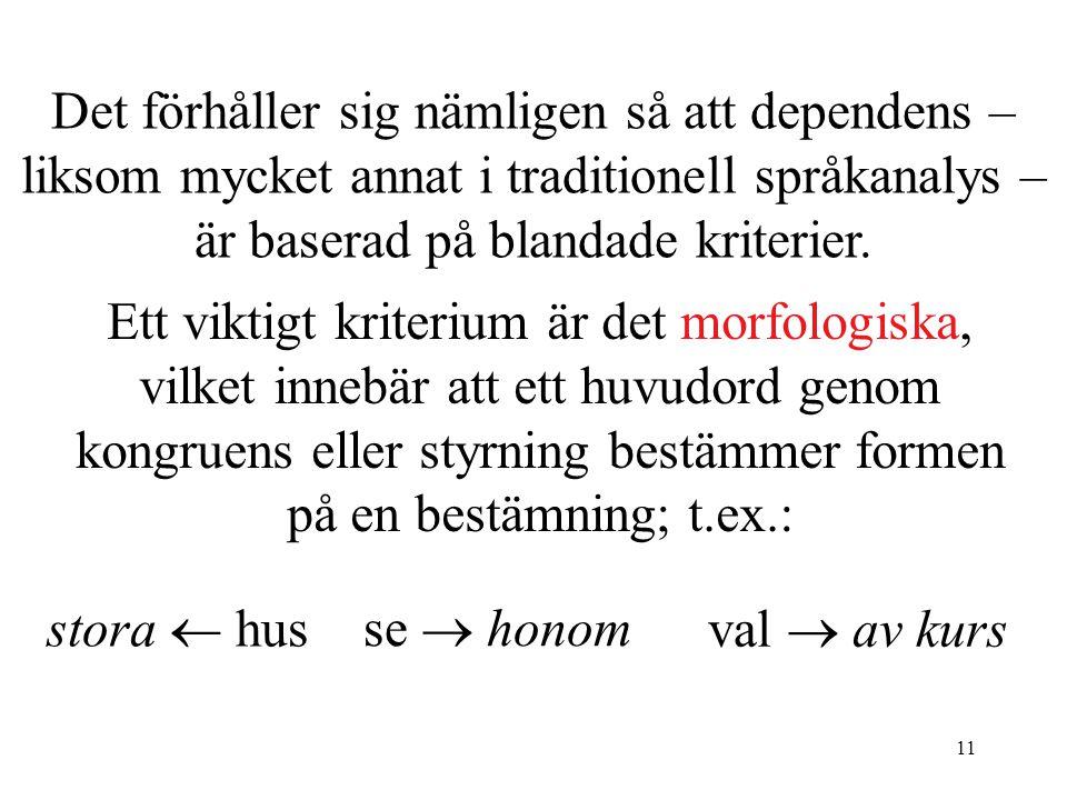 Det förhåller sig nämligen så att dependens – liksom mycket annat i traditionell språkanalys – är baserad på blandade kriterier.
