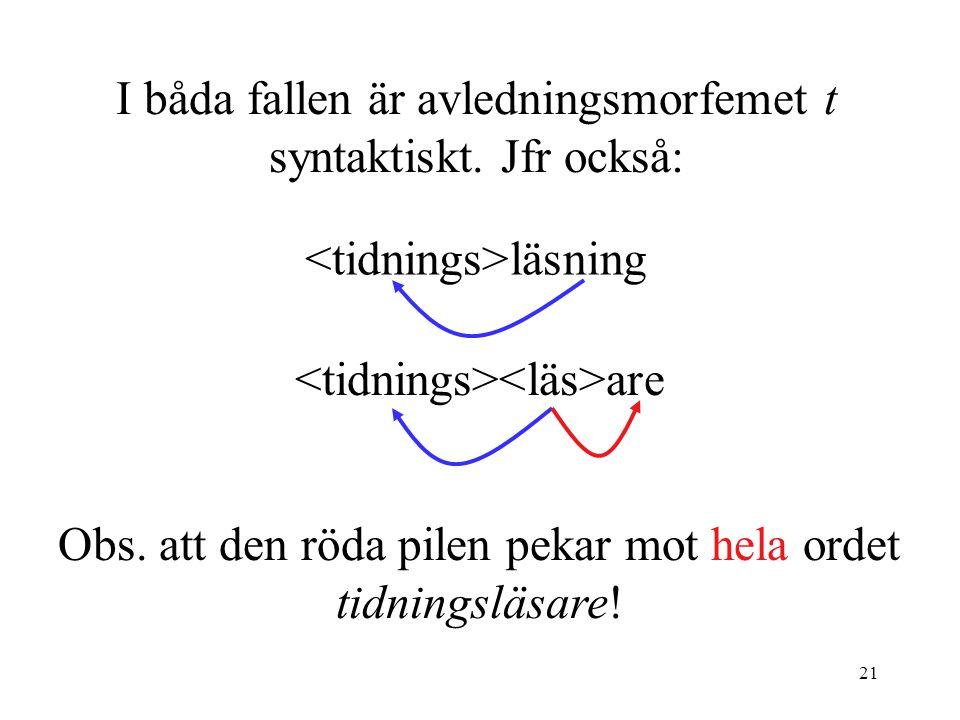 I båda fallen är avledningsmorfemet t syntaktiskt. Jfr också: