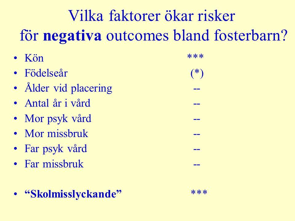 Vilka faktorer ökar risker för negativa outcomes bland fosterbarn