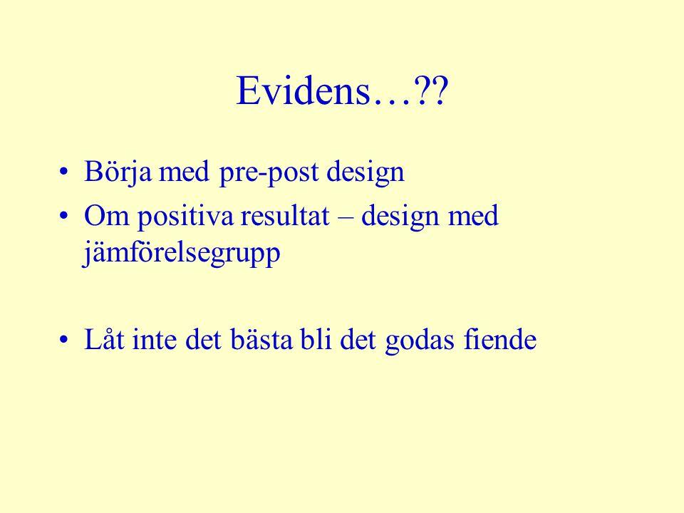 Evidens… Börja med pre-post design