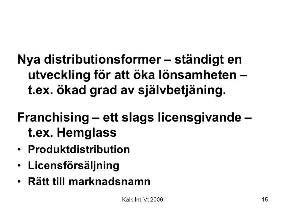 Franchising – ett slags licensgivande – t.ex. Hemglass