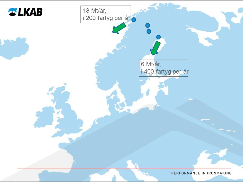 18 Mt/år, i 200 fartyg per år 6 Mt/år, i 400 fartyg per år
