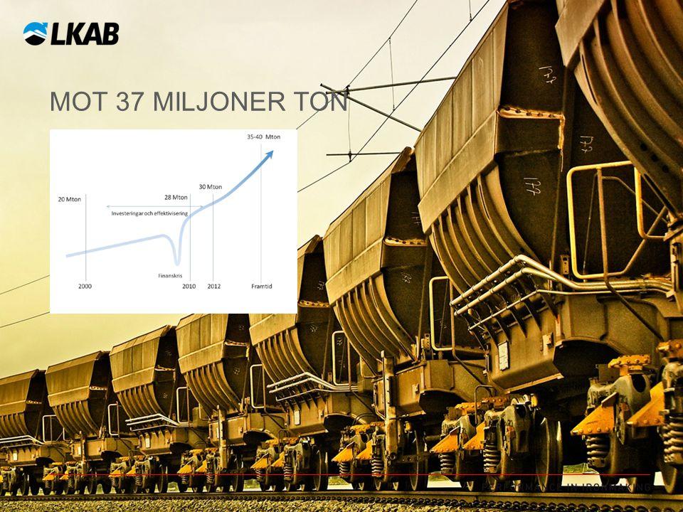 Mot 37 miljoner ton Målet är att leverera 37 miljoner ton 2015 vilket skall jämföras med 27 miljoner ton för 2011.