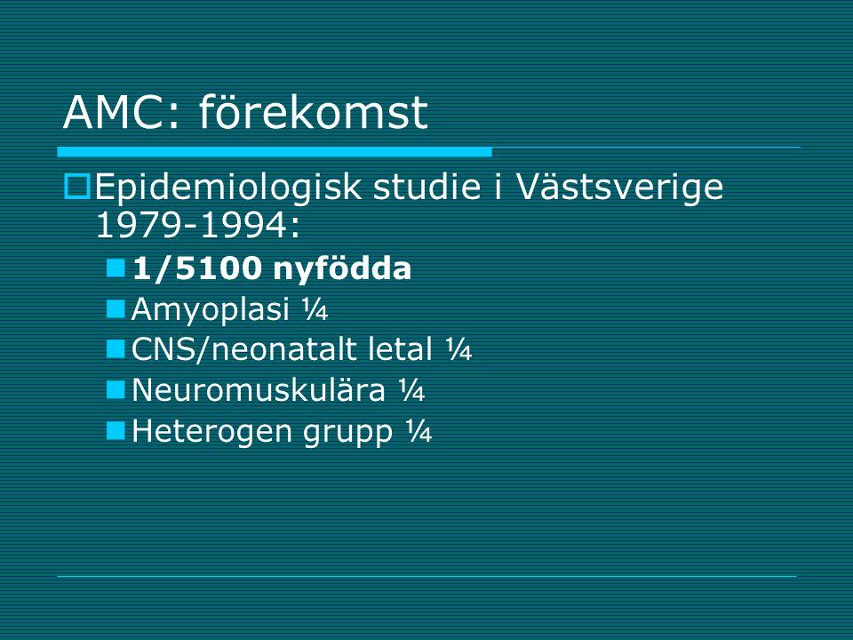 AMC: förekomst Epidemiologisk studie i Västsverige 1979-1994: