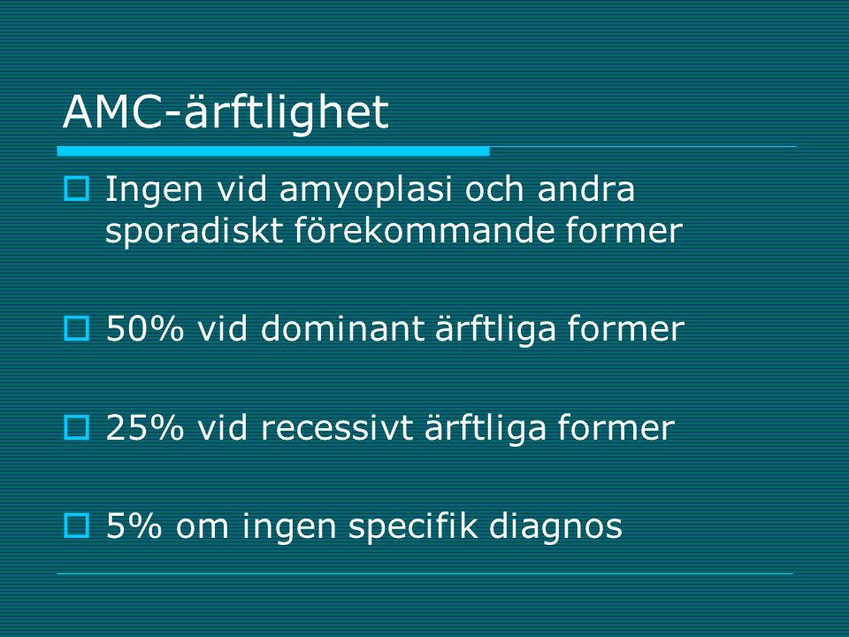 AMC-ärftlighet Ingen vid amyoplasi och andra sporadiskt förekommande former. 50% vid dominant ärftliga former.