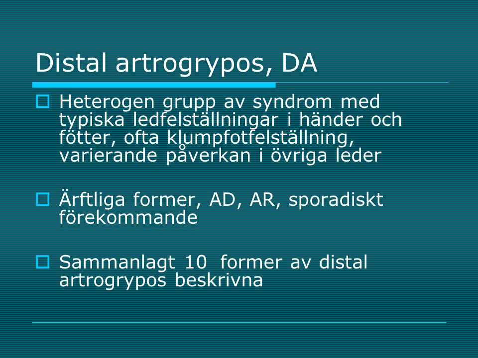 Distal artrogrypos, DA