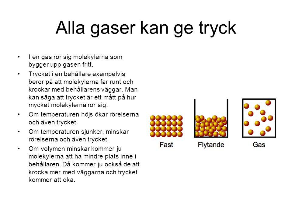 Alla gaser kan ge tryck I en gas rör sig molekylerna som bygger upp gasen fritt.