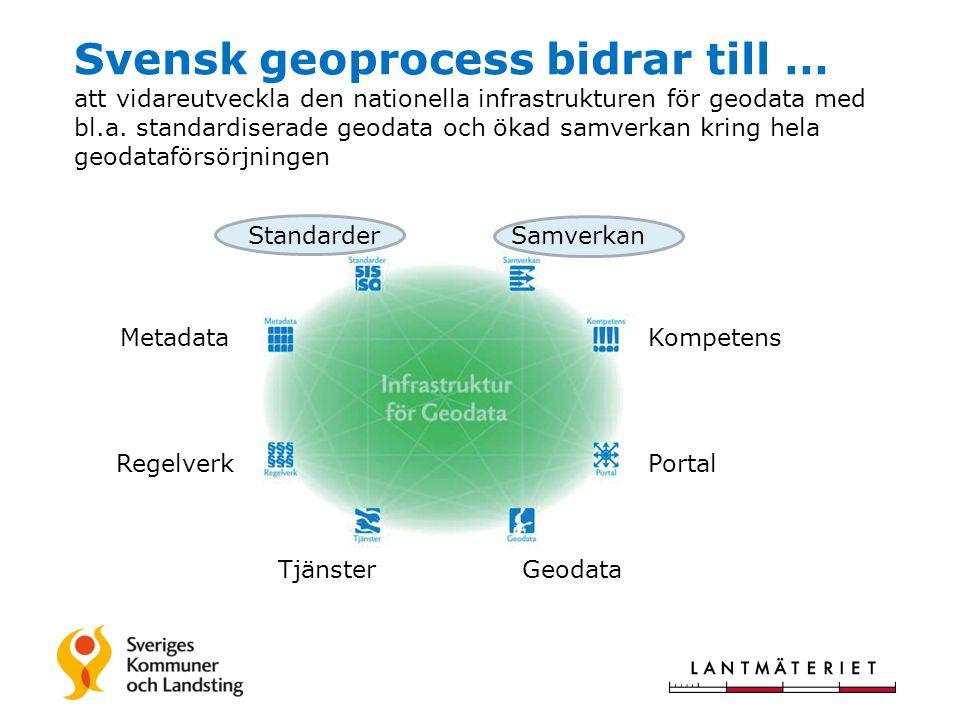 Svensk geoprocess bidrar till … att vidareutveckla den nationella infrastrukturen för geodata med bl.a. standardiserade geodata och ökad samverkan kring hela geodataförsörjningen