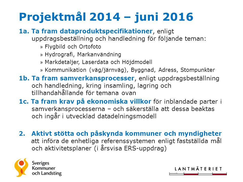 Projektmål 2014 – juni 2016 1a. Ta fram dataproduktspecifikationer, enligt uppdragsbeställning och handledning för följande teman: