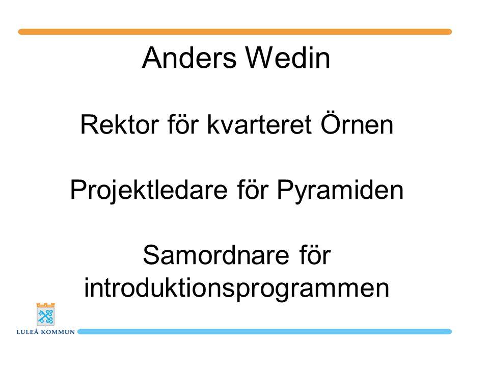 Anders Wedin Rektor för kvarteret Örnen Projektledare för Pyramiden Samordnare för introduktionsprogrammen