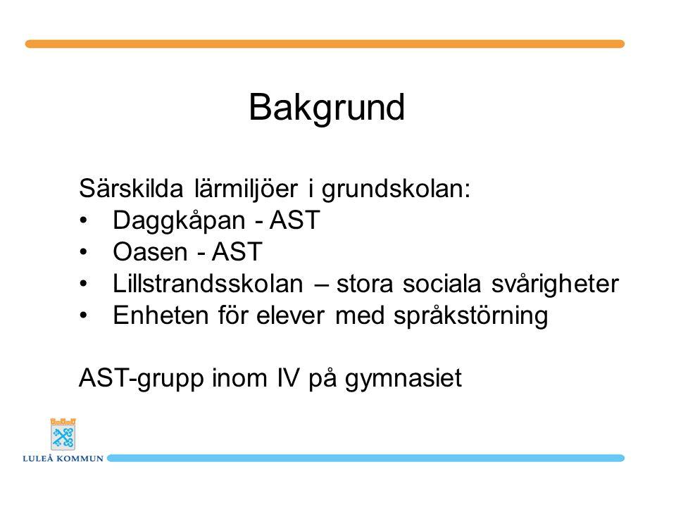 Bakgrund Särskilda lärmiljöer i grundskolan: Daggkåpan - AST