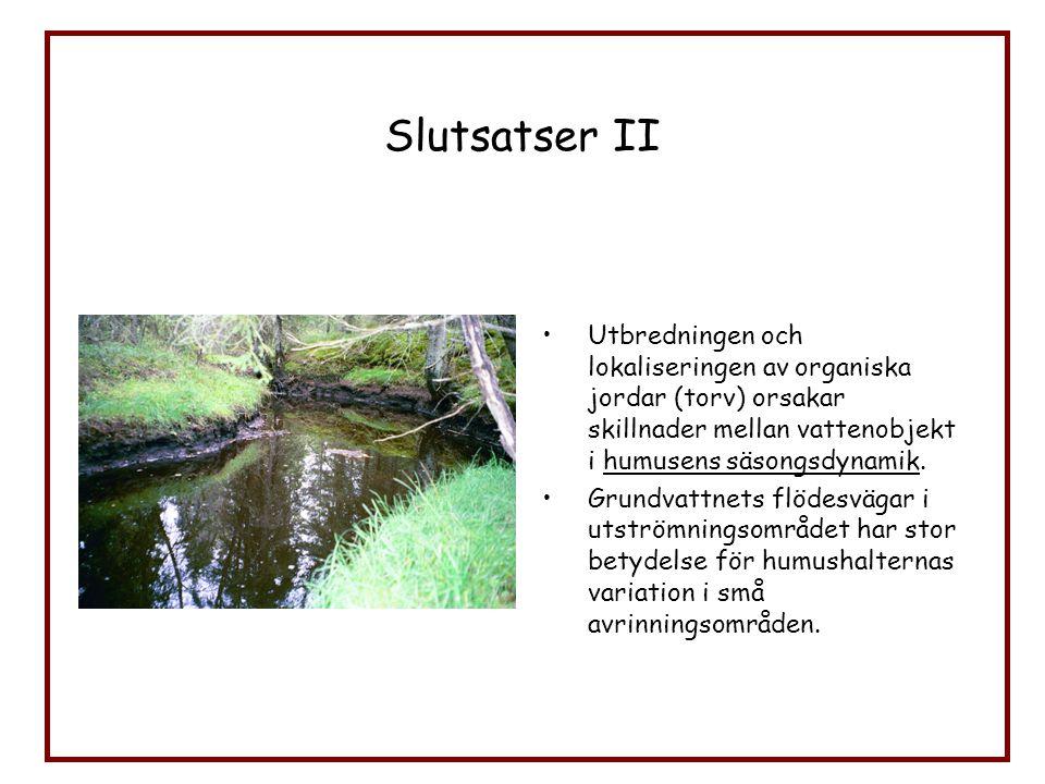 Slutsatser II Utbredningen och lokaliseringen av organiska jordar (torv) orsakar skillnader mellan vattenobjekt i humusens säsongsdynamik.