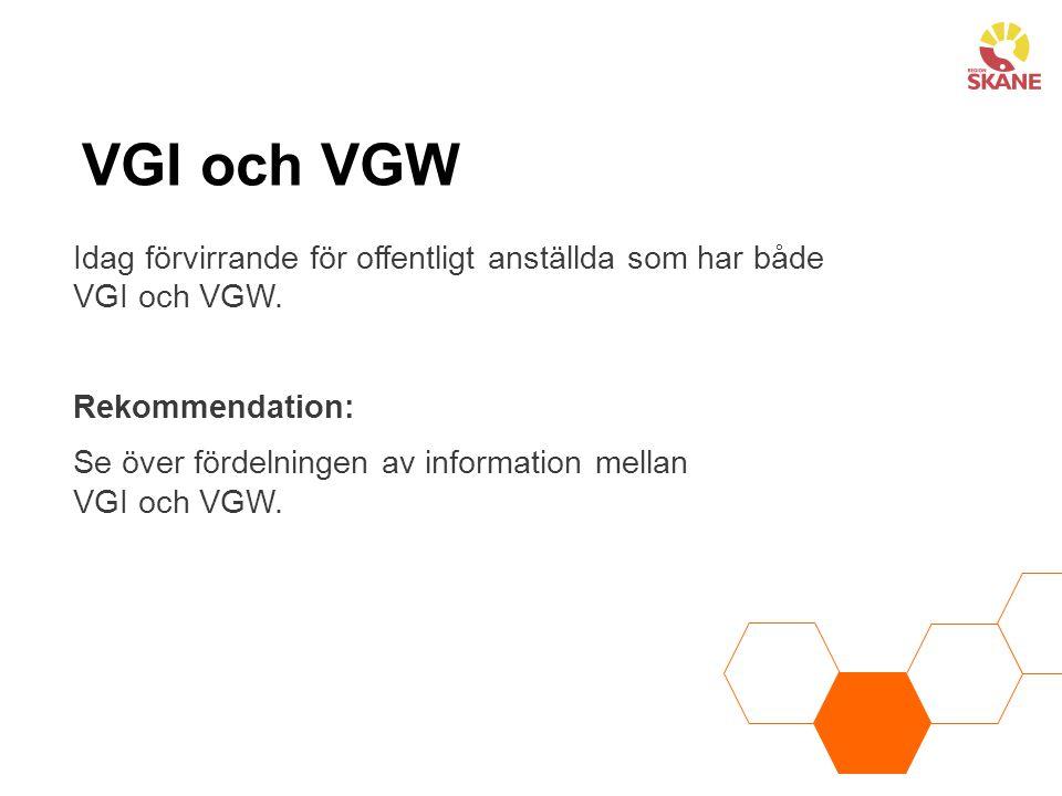 VGI och VGW Idag förvirrande för offentligt anställda som har både VGI och VGW. Rekommendation: