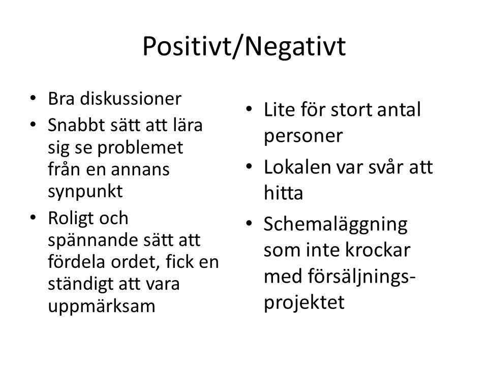 Positivt/Negativt Lite för stort antal personer