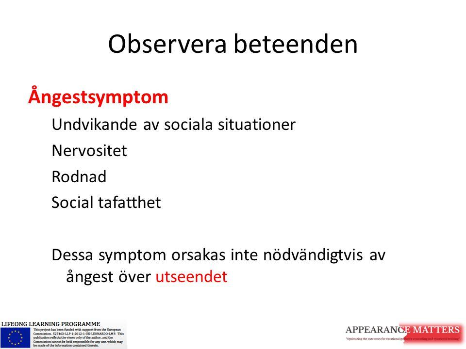 Observera beteenden Ångestsymptom Undvikande av sociala situationer