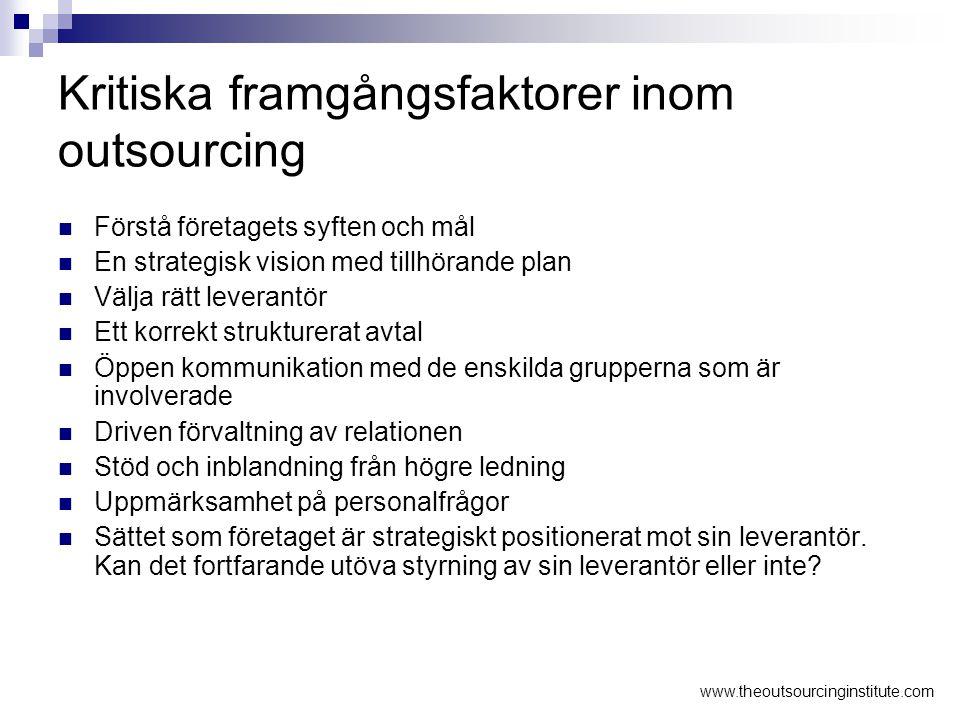 Kritiska framgångsfaktorer inom outsourcing