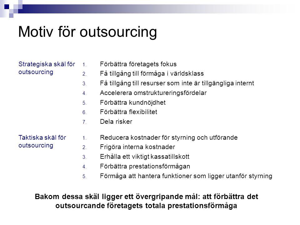 Motiv för outsourcing Strategiska skäl för outsourcing. Förbättra företagets fokus. Få tillgång till förmåga i världsklass.