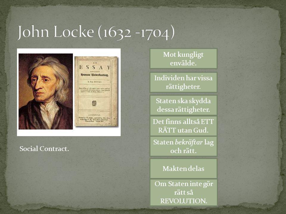 John Locke (1632 -1704) Mot kungligt envälde.