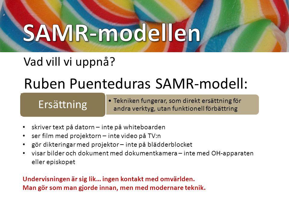 SAMR-modellen Ruben Puenteduras SAMR-modell: Vad vill vi uppnå