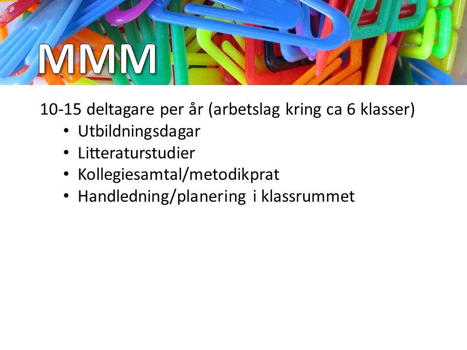 MMM 10-15 deltagare per år (arbetslag kring ca 6 klasser)