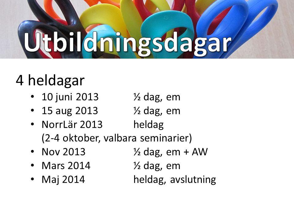 Utbildningsdagar 4 heldagar 10 juni 2013 ½ dag, em