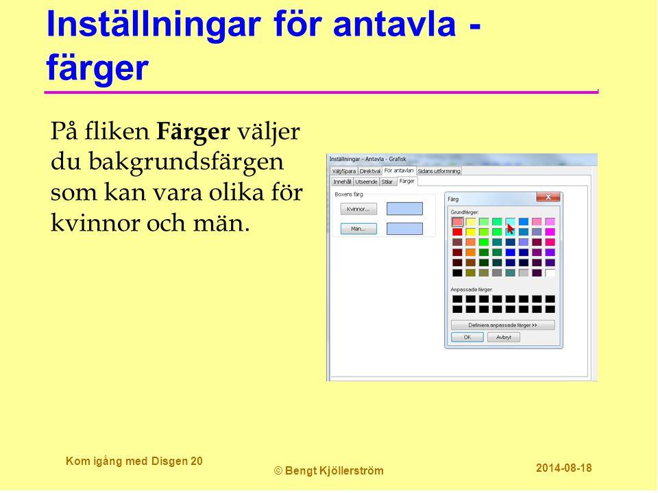 Inställningar för antavla - färger