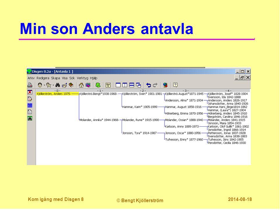 Min son Anders antavla Kom igång med Disgen 8 © Bengt Kjöllerström