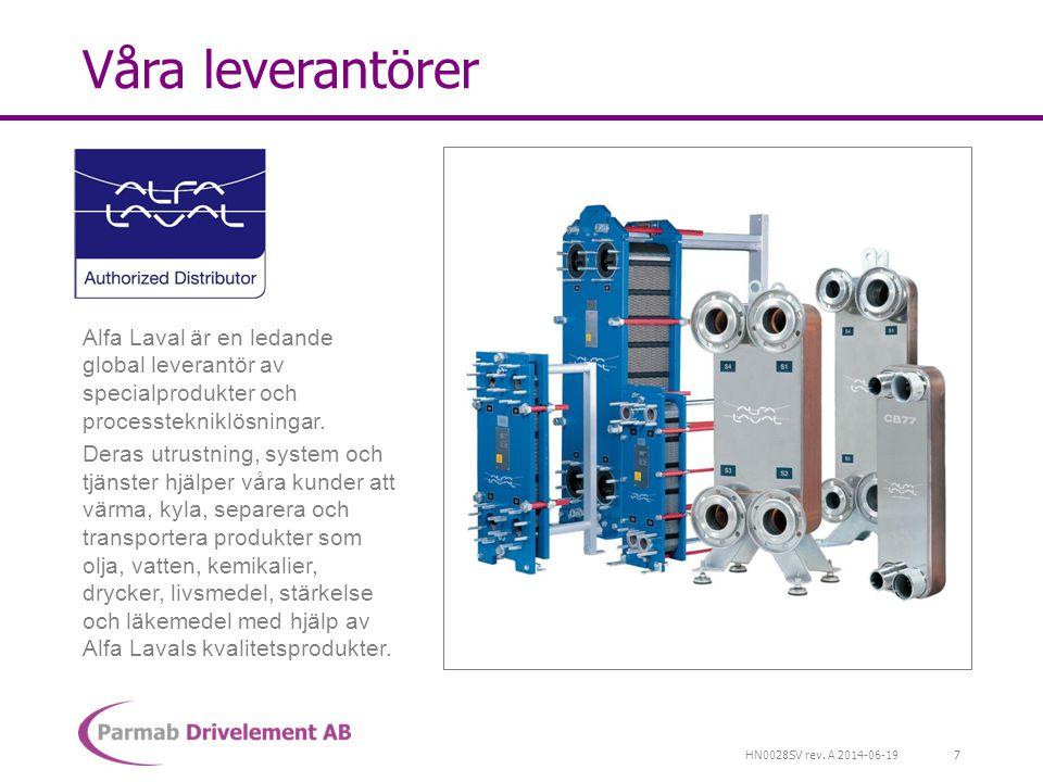 Våra leverantörer Alfa Laval är en ledande global leverantör av specialprodukter och processtekniklösningar.